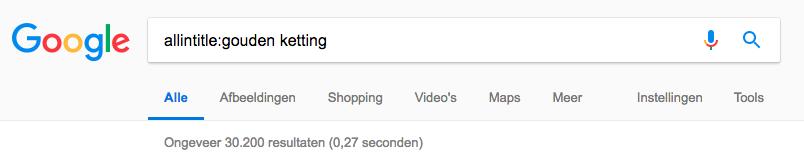 Google allintitle voorbeeld
