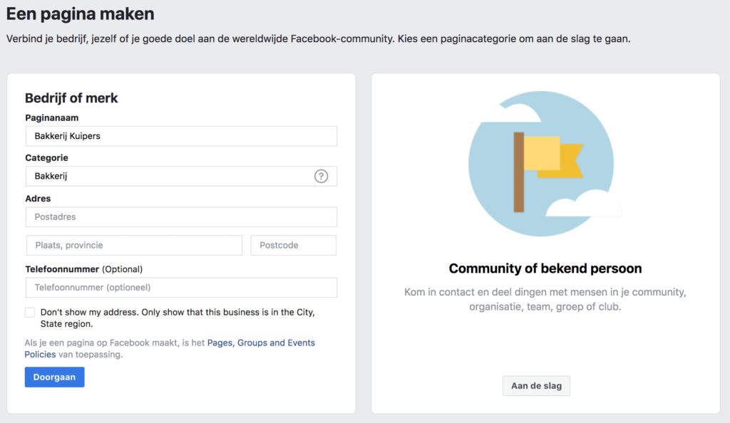 Facebook bedrijf/merk vs. community/bekend persoon