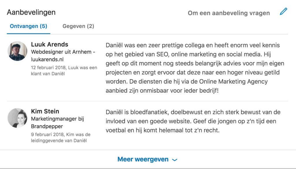 Aanbeveling LinkedIn