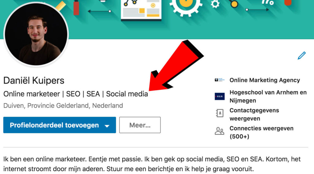 Kopregel LinkedIn optimaliseren