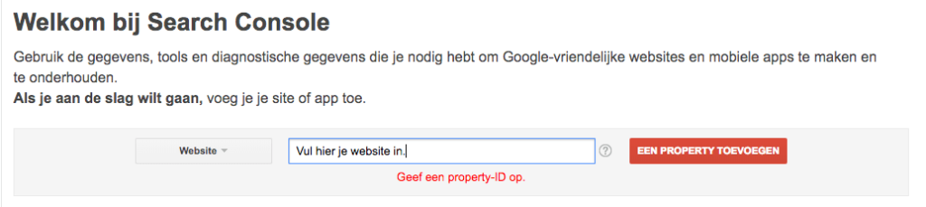 Property toevoegen Search Console