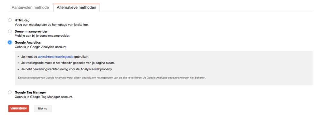 Verifiëren via Google Analytics