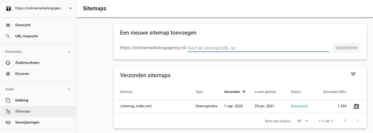 Google Search Console sitemap