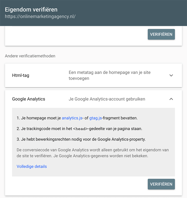 Search Console eigendom verifieren
