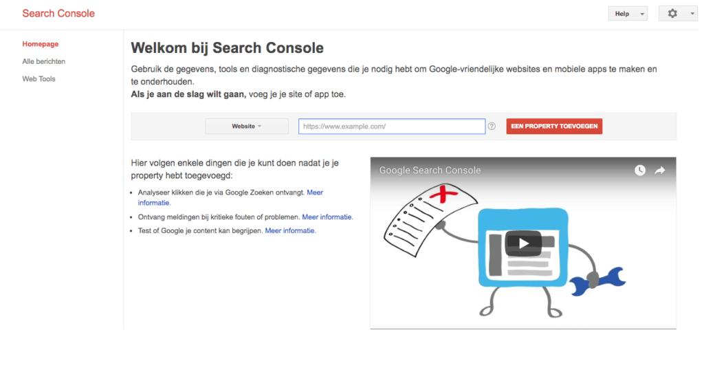 Google Search Console scherm