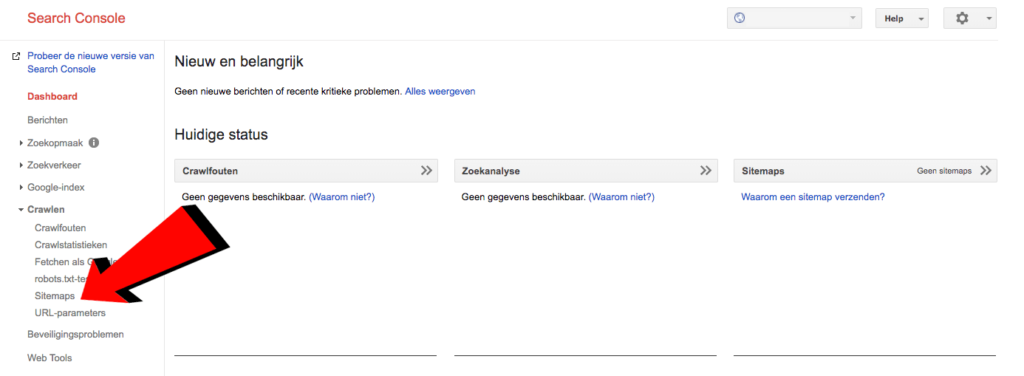 Sitemap toevoegen search console