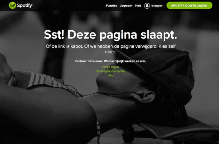 Spotify 404 pagina