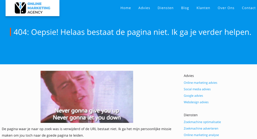 404 pagina Online Marketing Agency