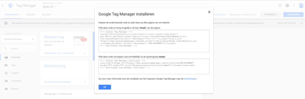 Google tag manager installeren head en body