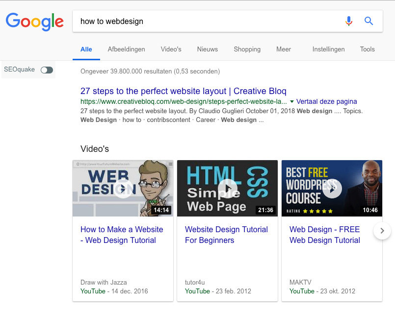 Google zoekresultaat met video