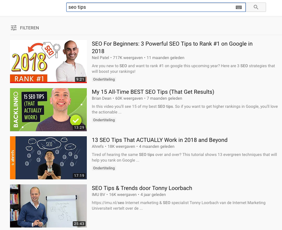 SEO tips in YouTube