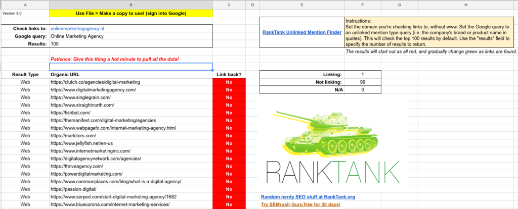 Resultaten ranktank unlinked mention finder