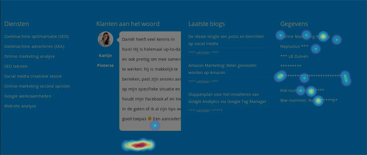 Screenshot footer Hotjar