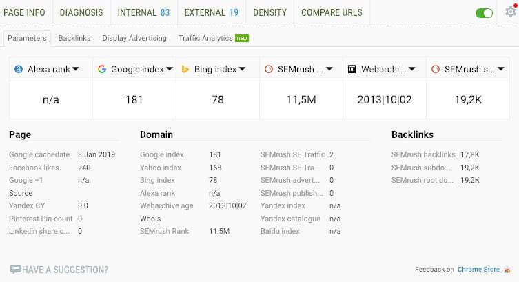 SEOquake Google extensie