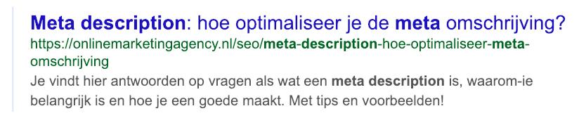 Actieve en op de gebruiker aangepaste meta description