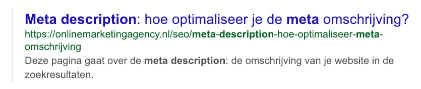 Meta omschrijving gebruik de zoekterm