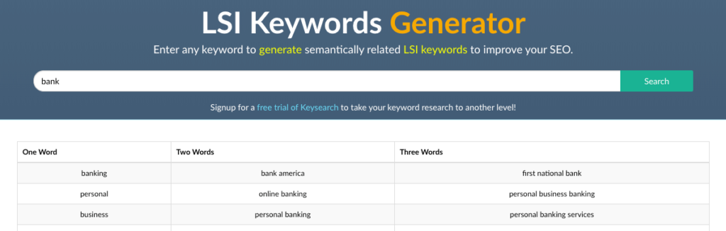 Screenshot LSI Keyword Generator Bank