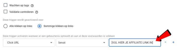 Affiliate link klik invullen