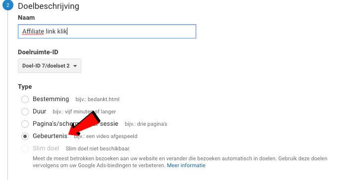 Doelbeschrijving Google Analytics gebeurtenis