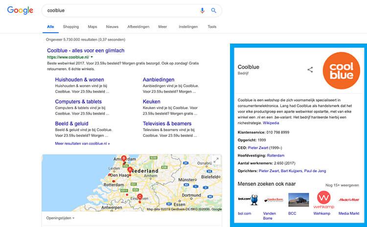 Google Mijn Bedrijf voorbeeld Coolblue