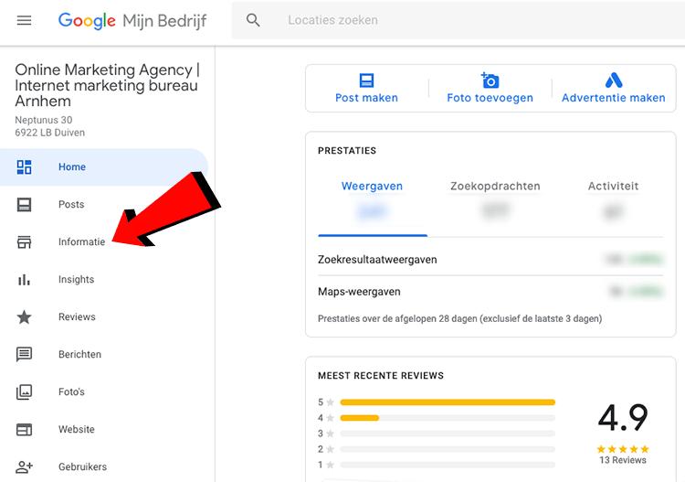 Informatie Google Mijn Bedrijf