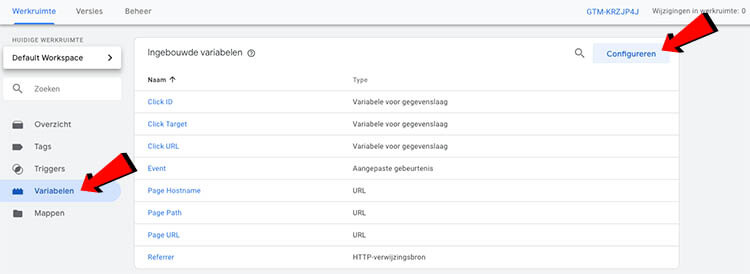 Variabele configureren tag manager
