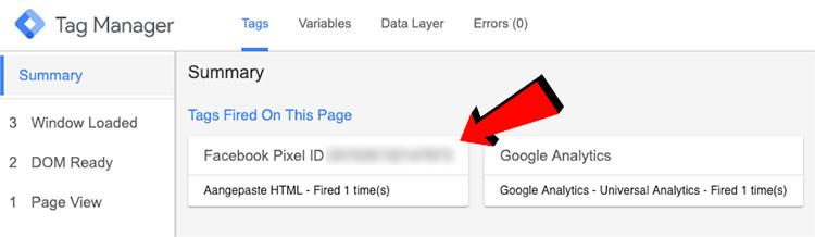 Tag Manager voorbeeldmodus Pixel