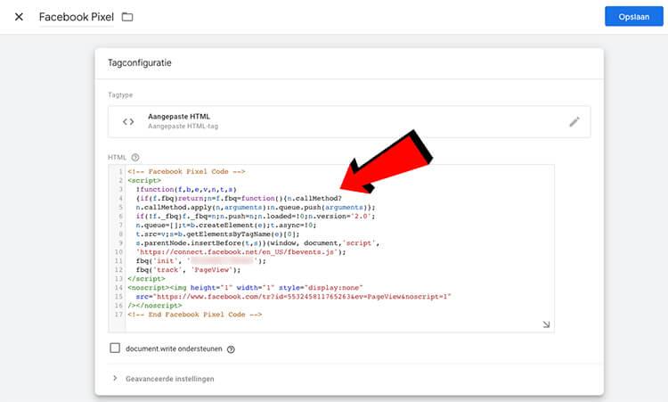 pixelcode html plakken