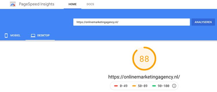 Google Page speed insight snelheid