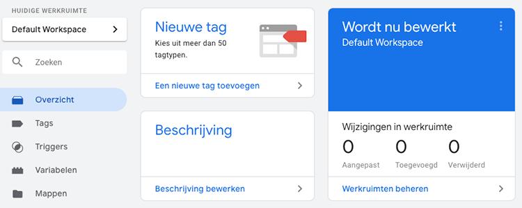 Google Tag Manager werkruimte