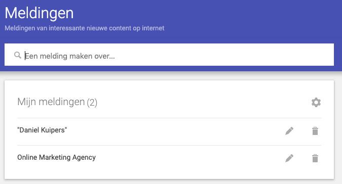 Google alerts melding