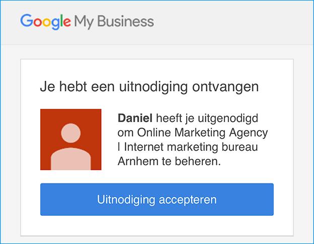 Uitnodiging Google Mijn Bedrijf