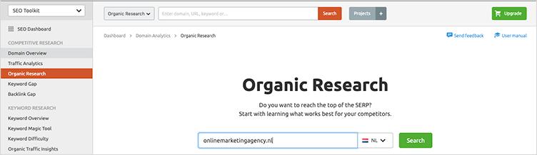 Semrush organic research