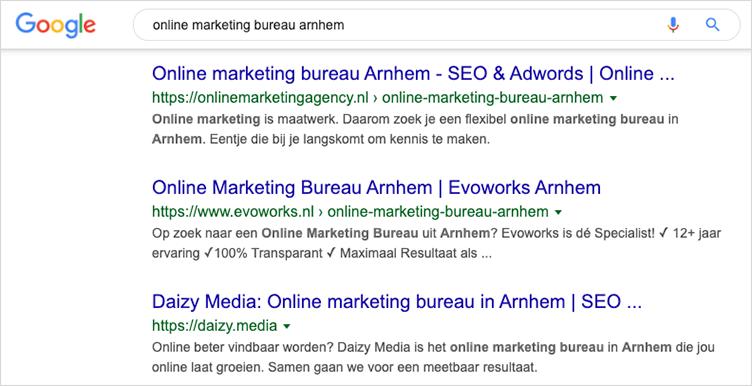 googlen op belangrijkste zoekwoorden