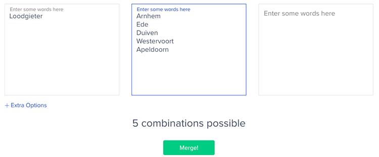 Mergewords onderzoek combinaties