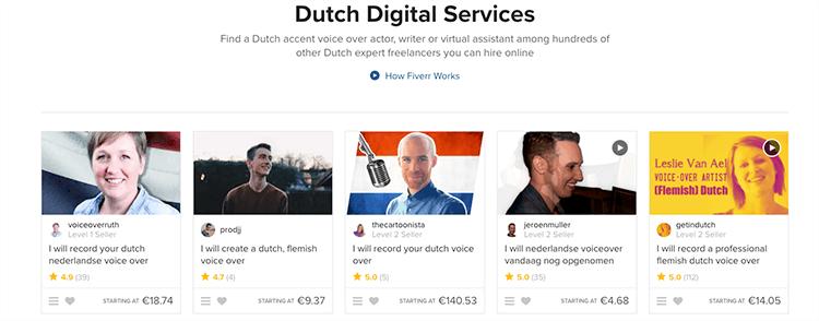Fiverr nederlandse gigs
