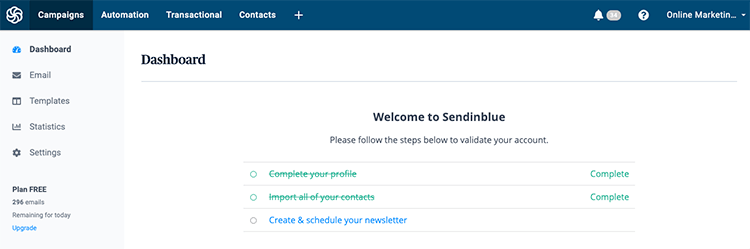 Sendinblue e-mailmarketing software