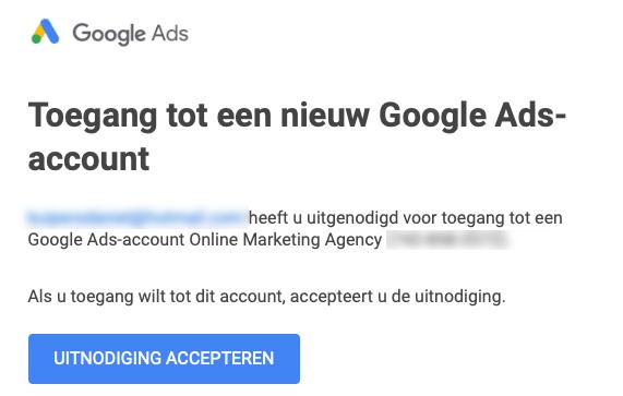 toegang tot een nieuw google ads account