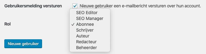 Gebruikersmelding en beheerdersrollen wordpress
