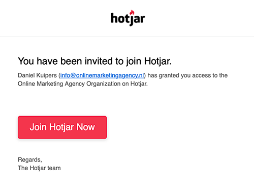 Hotjar invite
