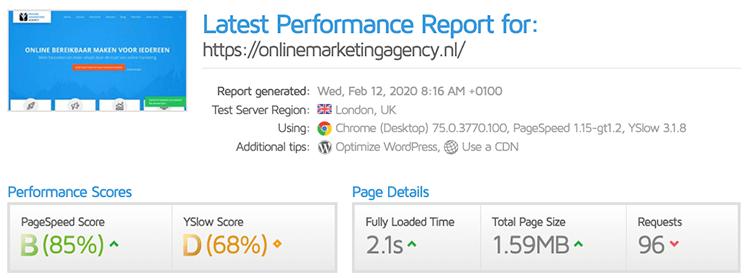 Performance report gt metrix