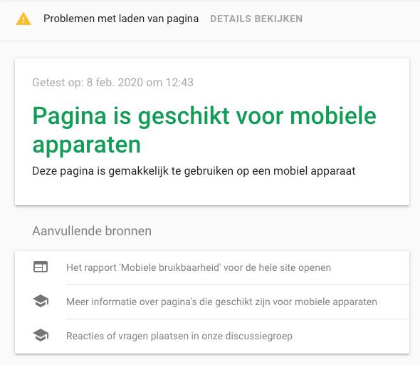 mobielvriendelijke test Google