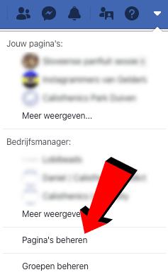 Facebook pagina's beheren