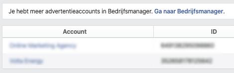 Ga naar facebook bedrijfsmanager