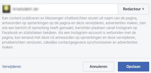 Verwijderen facebook paginabeheerder