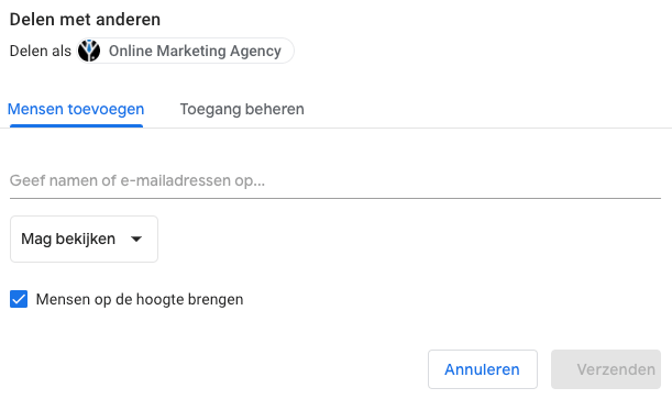 Google Data Studio delen met anderen