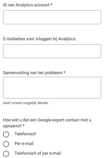 Google help formulier