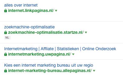 Startpagina backlinks voorbeelden