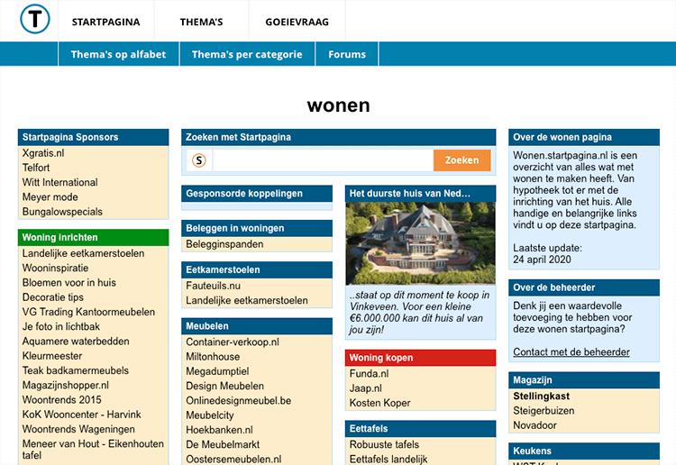startpagina voorbeeld
