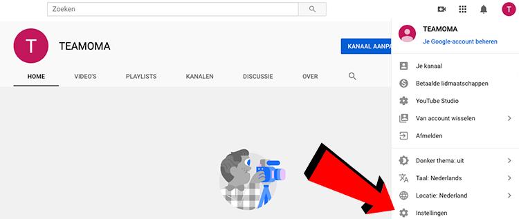 Instellingen aanpassen YouTube kanaal